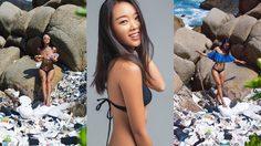 ดาร์ซี่ หลิว นักเซิร์ฟบอร์ดอาชีพคนจากจีน ถ่ายภาพโปรโมต ปัญหาขยะพลาสติกในทะเล