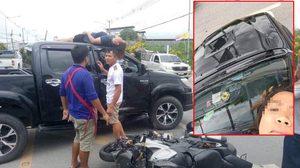 เปิดภาพ สาวนอนเซลฟี่บนหลังคารถ หลังเกิดอุบัติเหตุรถชน