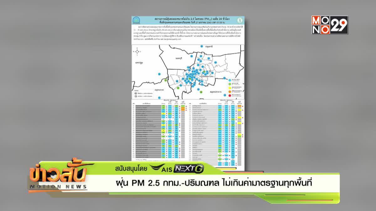 ฝุ่น PM2.5 กทม.-ปริมณฑล ไม่เกินค่ามาตรฐานทุกพื้นที่
