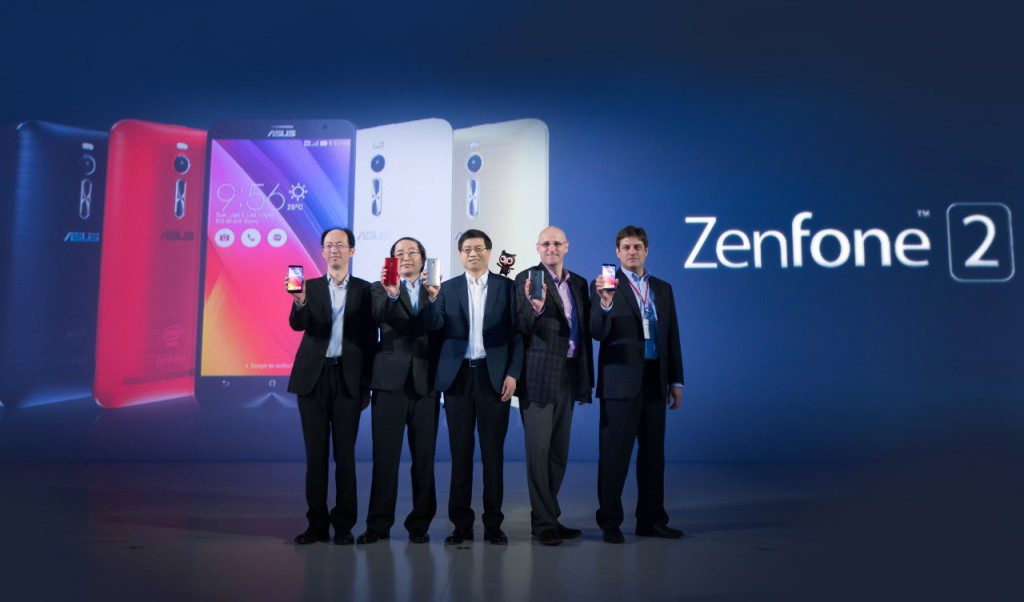 From left to right-ASUS Regional Director Rex Lee, ASUS Corporate Vice President Eric Chen, ASUS CEO Jerry Shen, Intel President Robby Swinnen and Intel VP Samuel G. Spangler