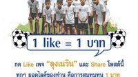 """""""เพจลุงเนวิน"""" ชวนกดไลค์สมทบทุน 1 ไลค์ 1 บาท ครบล้านซื้อลูกฟุตบอลแจกโรงเรียนทั่วประเทศ"""