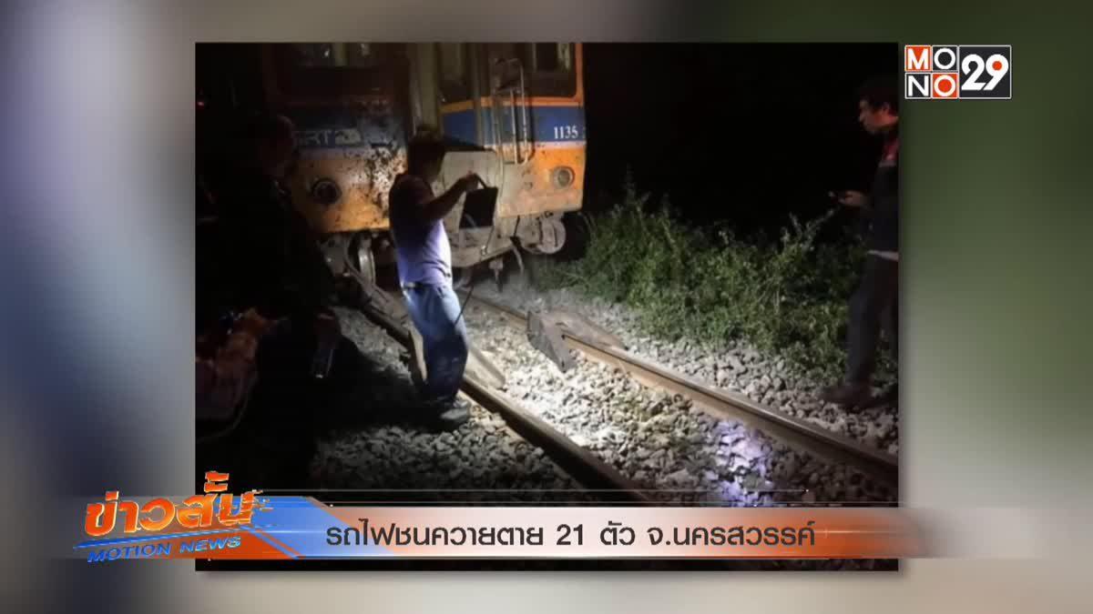 รถไฟชนควายตาย 21 ตัว จ.นครสวรรค์