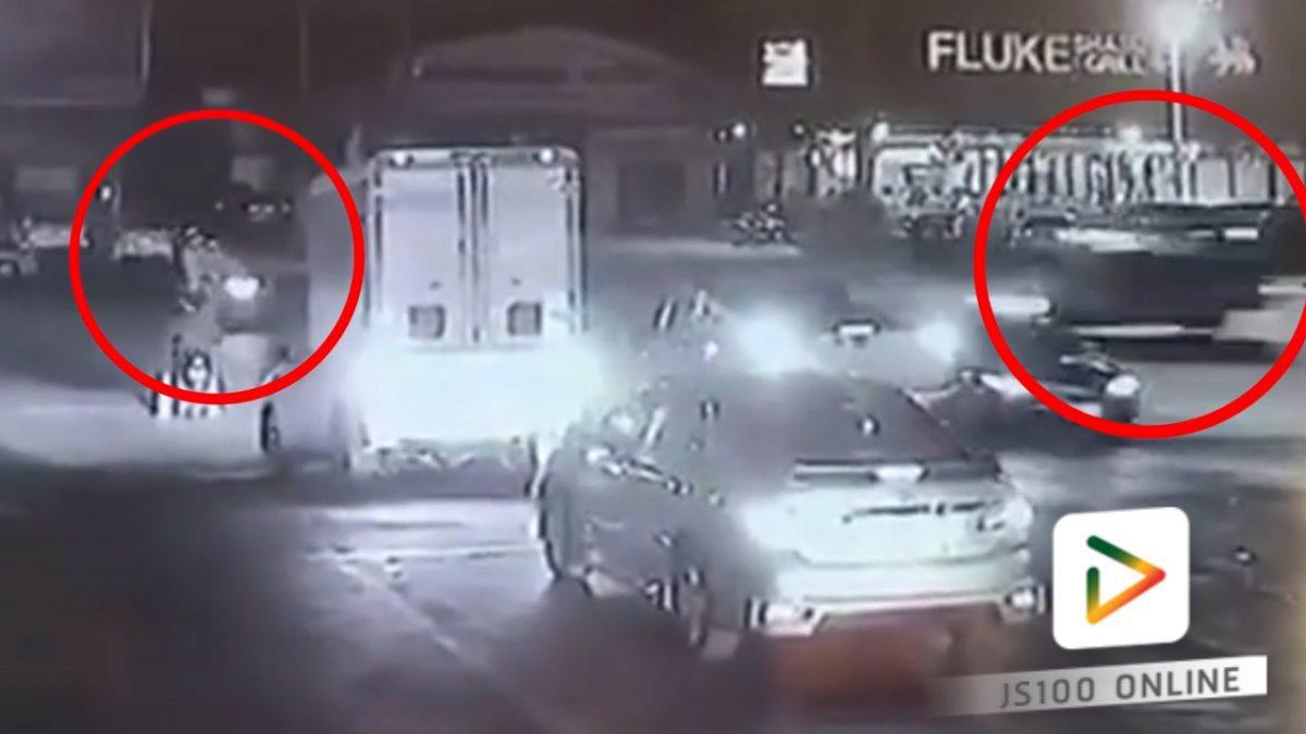 รถสองแถวชนกับรถจักรยานยนต์ กลางแยก!!(09-02-61)