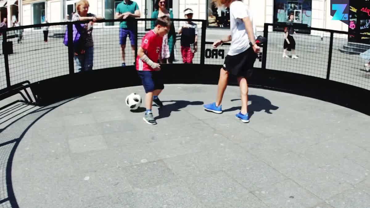 The battle football outside the World Cup stadium