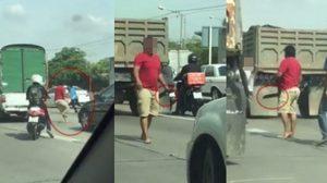 คลิประทึก!! นาทีคนขับรถบรรทุก-รถกระบะ ไล่ฟันกลางถนน