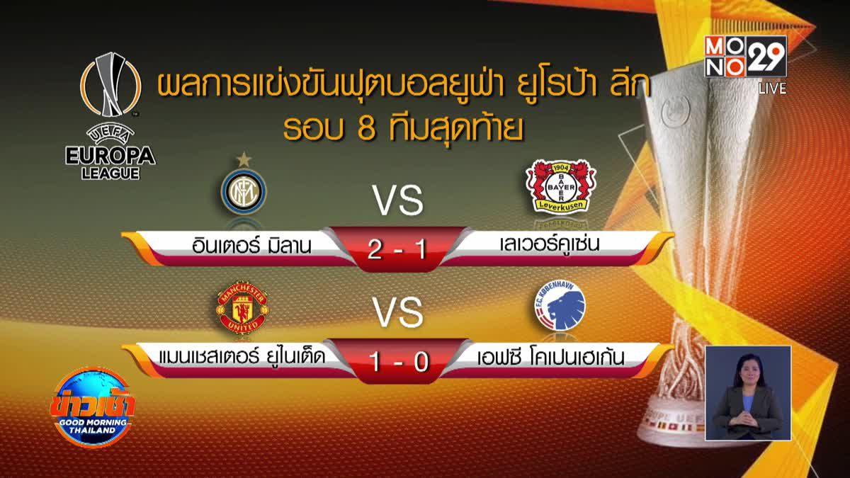 ผลฟุตบอลยูฟ่า ยูโรป้าลีก รอบ 8 ทีมสุดท้าย 11-08-63