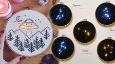 ไอเดียดีมาก! ปักผ้าลายกลุ่มดาวบนสะดึง ติดไฟ LED สวยเหมือนมองดาวบนฟ้า