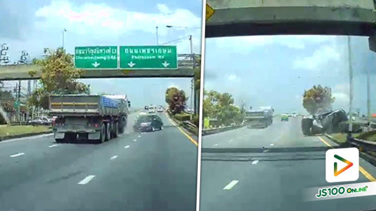 วินาทีรถพ่วงพุ่งชนรถเก๋งพลิกตะแคง บนถนนราชพฤกษ์ ขาเข้า เหตุการณ์น่ากลัวมาก