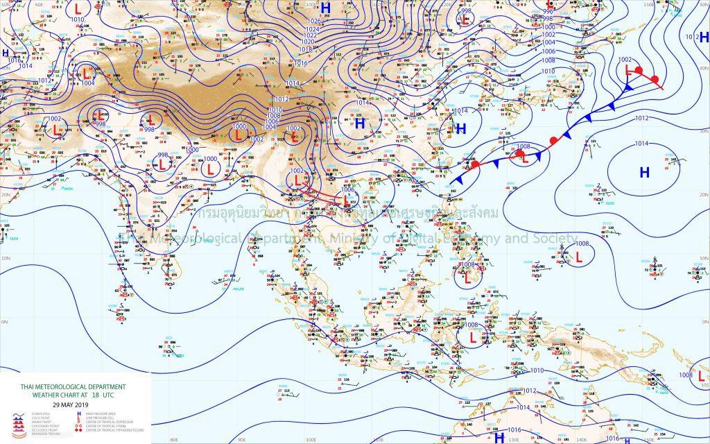 แผนที่อากาศผิวพื้นวันที่ 30 พฤษภาคม 2562 เวลา 01.00 น.ร่องมรสุมพาดผ่านภาคเหนือตอนบนของประเทศไทย เข้าสู่หย่อมความกดอากาศต่ำบริเวณอ่าวตังเกี๋ย