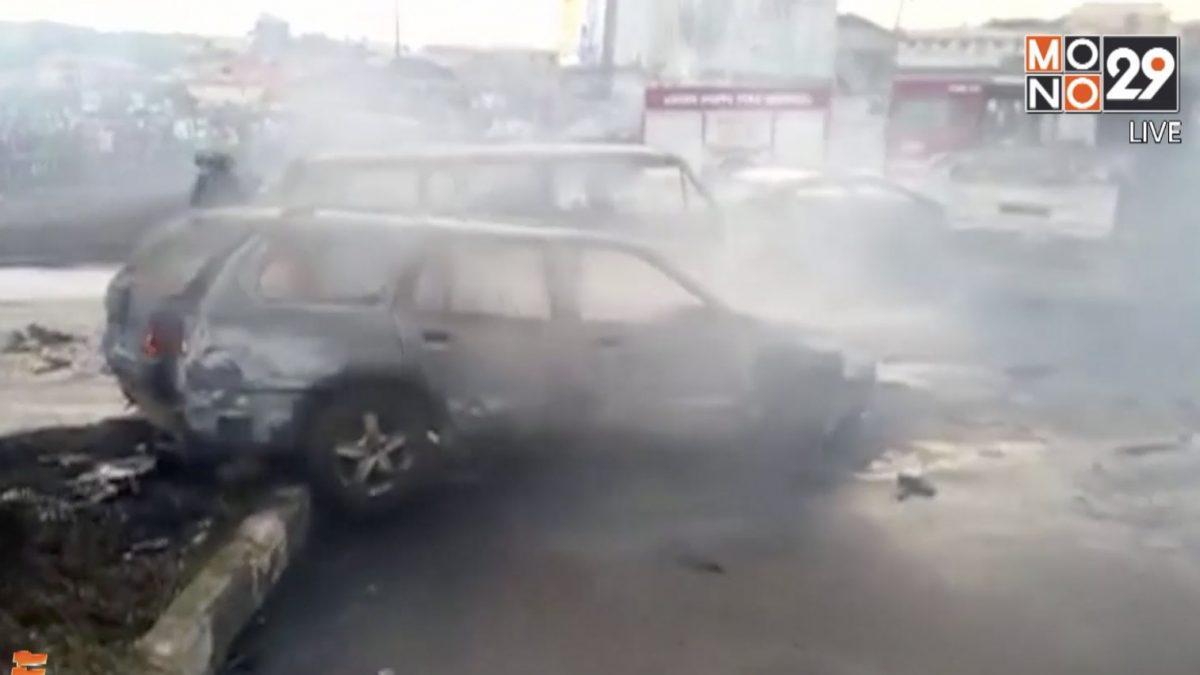 รถบรรทุกน้ำมันระเบิดบนถนนในไนจีเรีย