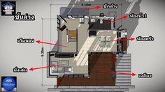 แบบบ้านสองชั้น ขนาดเล็กมี 3 ห้องนอน 2 ห้องน้ำพื้นที่ใช้สอย 131 ตร.ม.