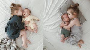 น่ารักน่าเอ็นดู ภาพประทับใจ พี่สาวตัวน้อย นอนเฝ้าน้องชายที่เพิ่งคลอดไม่ห่าง