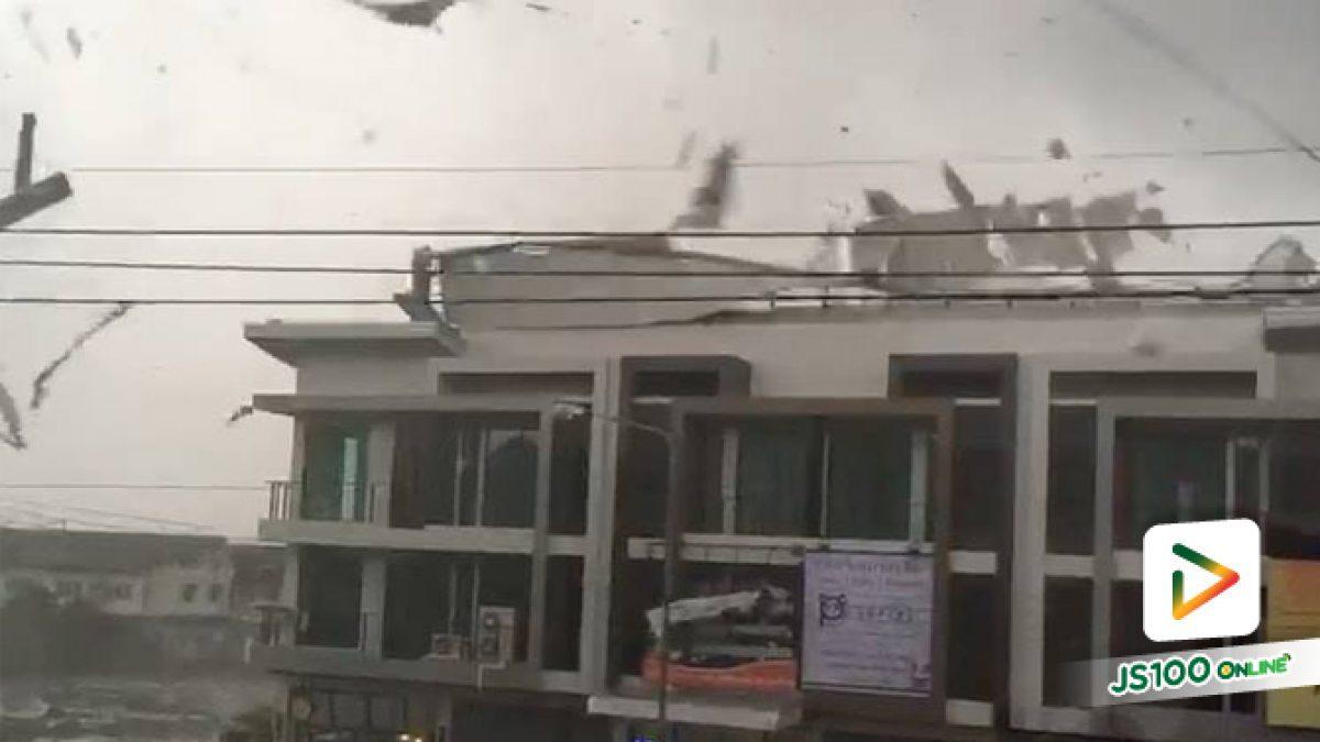 เมื่อเวลา 17:00 เกิด ลมพายุฝนพัดแรง ที่อ.เมือง จ.สมุทรสาคร พัดเอาหลังคาอาคารปลิวเสียหาย (18-08-61)