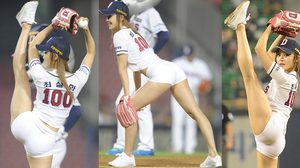 Choi Seol Hwa สาวสุดเซ็กซี่ที่มาพร้อมชุดรัดเปรี้ยะในการแข่งขันกีฬาเบสบอล