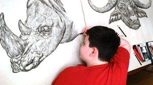 วาดเก่ง! ศิลปินเด็กวัย 15 วาดภาพสัตว์จากความจำ ไม่ต้องง้อแบบ