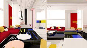 ห้องอพาร์ทเม้นท์ สุดอาร์ตแต่งห้องแนวล้ำๆ ด้วยเส้นสายและลายสี