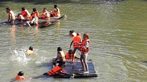 โดดน้ำ พายเรือ ที่ บ้านคลองแค  ชุมชนน่าเที่ยว แห่งสมุทรสาคร
