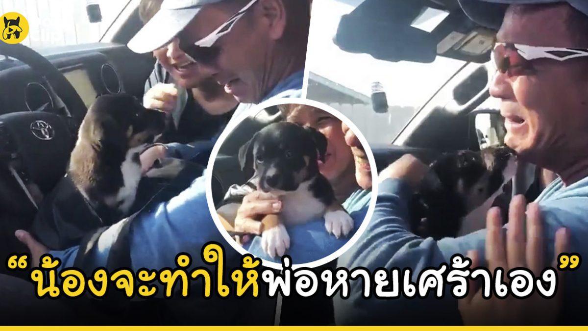 คุณพ่อดีใจจนกลั้นน้ำตาเอาไว้ไม่อยู่ หลังลูกสาวมอบของขวัญเป็นลูกหมาตัวน้อย หลังต้องเศร้าที่เสียน้องหมาตัวเก่าไป