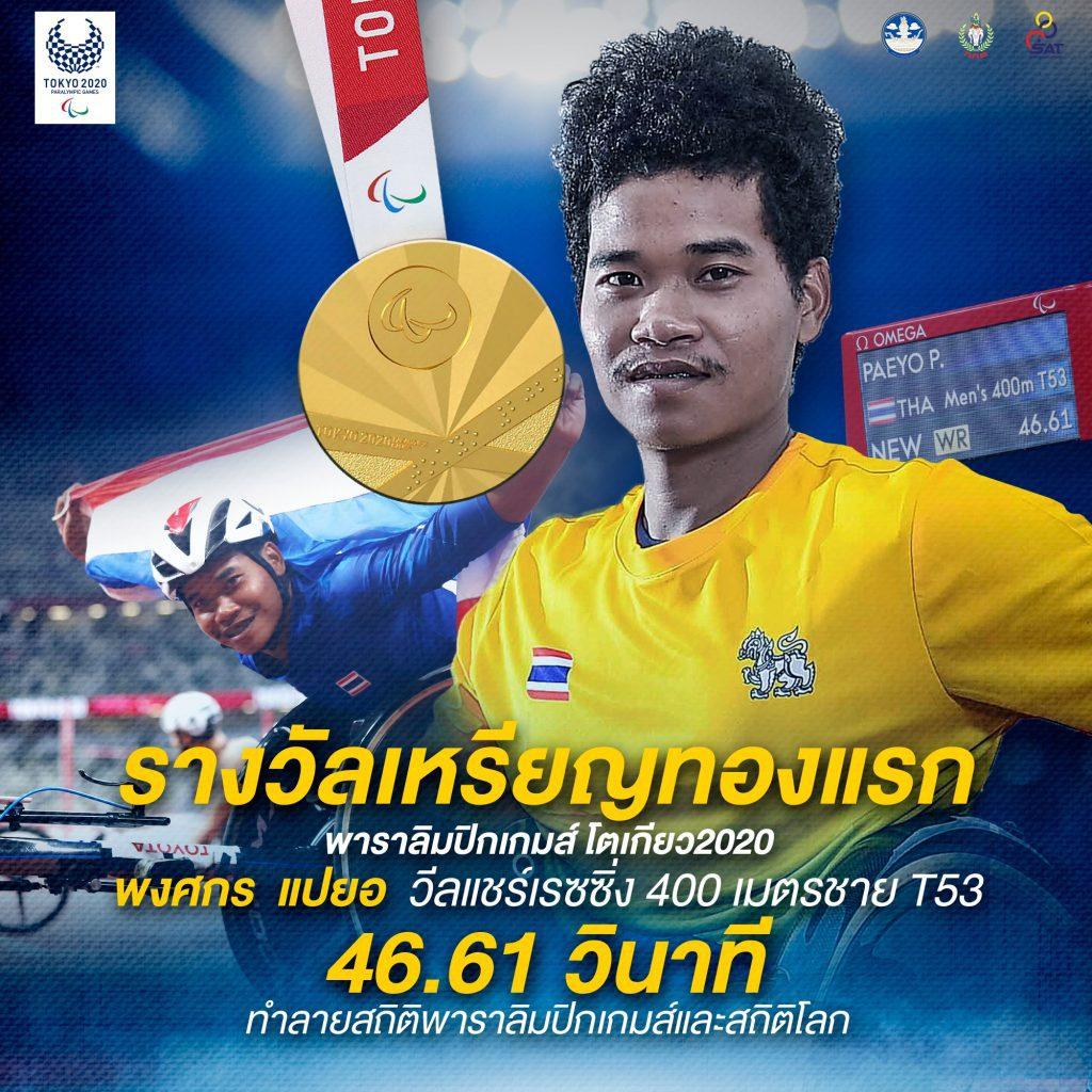 """เหรียญทองแรก """"กร"""" พงศกร แปยอ นักกีฬาวีลแชร์เรซซิ่งไทย พาราลิมปิกเกมส์ 2020"""