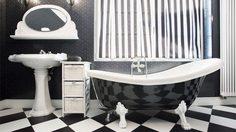ไอเดีย แต่งห้องน้ำ ด้วยกระเบื้องสีขาวดำ แต่งแบบนี้ เท่ๆ คูลๆ ดีนะ