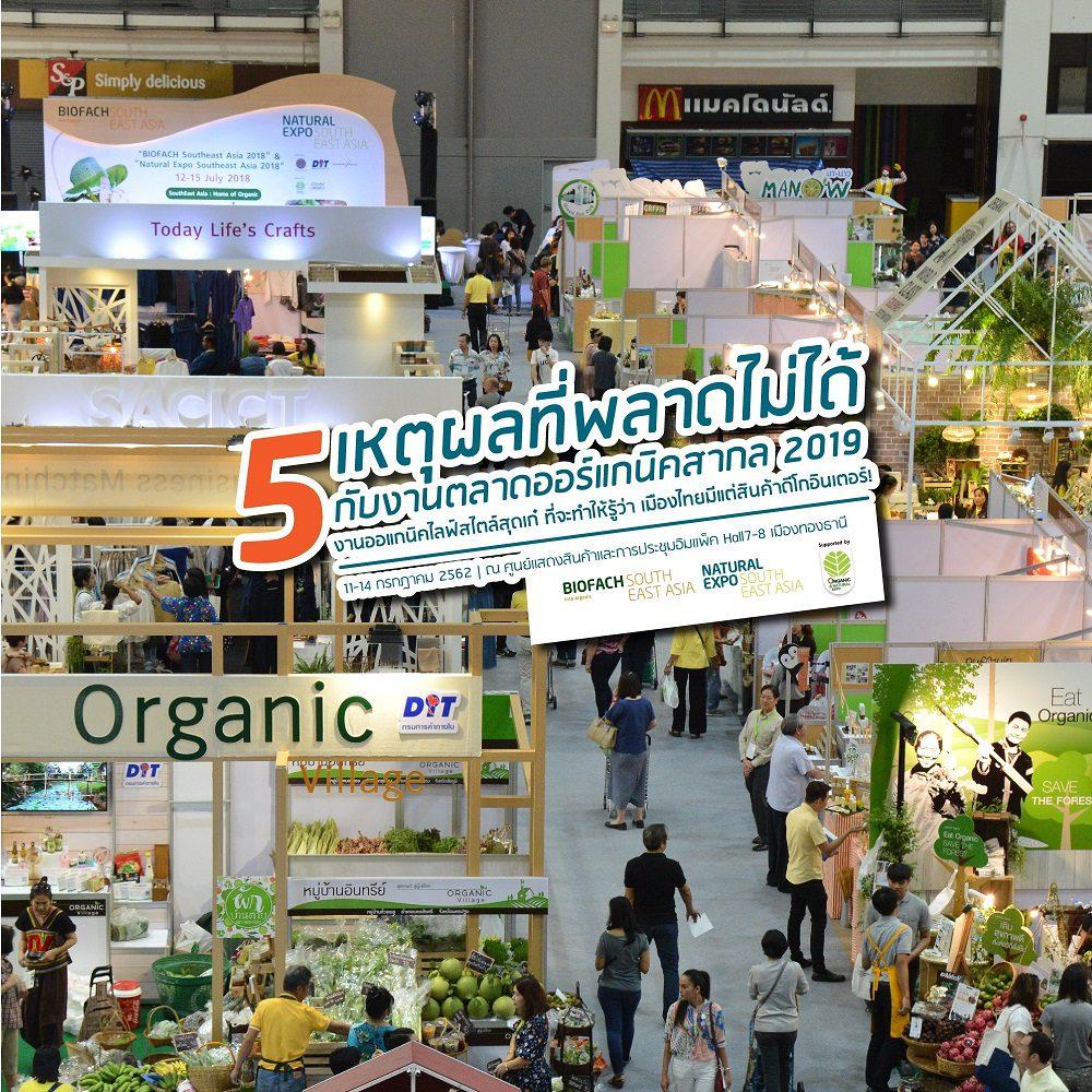 5 เหตุผลที่พลาดไม่ได้กับงานตลาดออร์แกนิคสากล 2019  งานออแกนิคไลฟ์สไตล์สุดเก๋ ที่จะทำให้รู้ว่า เมืองไทยมีแต่สินค้าดีโกอินเตอร์!