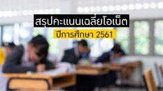 สรุปคะแนนเฉลี่ยโอเน็ต ปีการศึกษา 2561