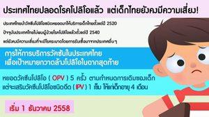 ประเทศไทยปลอดโรค โปลิโอ แต่เด็กไทยยังคงมีความเสี่ยง!