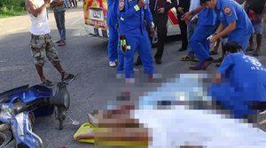 สิบล้อชนจักรยานยนต์ แม่ลูกดับ 3 ศพ ลูก9ขวบอีกคนสาหัส
