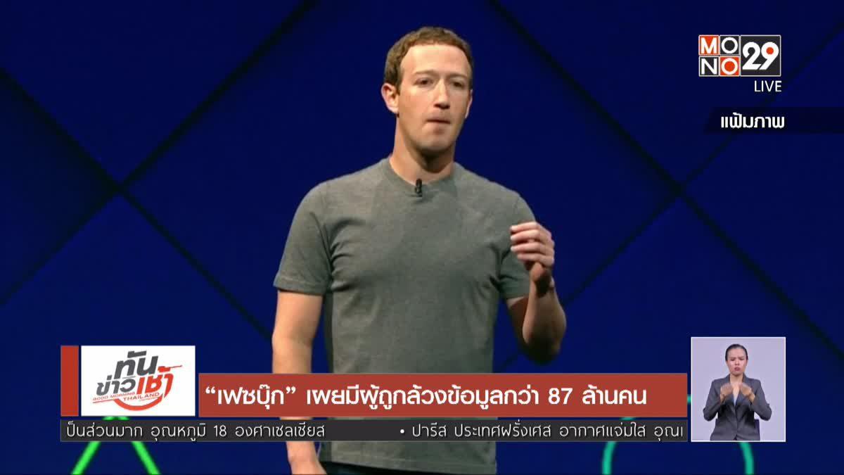 เฟซบุ๊กเผยมีผู้ถูกล้วงข้อมูลกว่า 87 ล้านคน