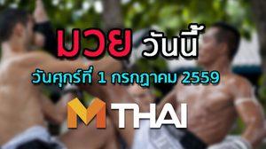 โปรแกรมมวยไทยวันนี้ วันศุกร์ที่ 1 กรกฎาคม 2559