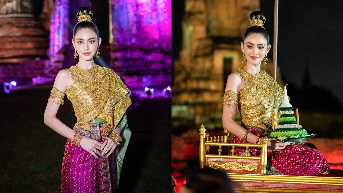 ใหม่ ดาวิกา ในชุดไทยนางนพมาศ สวยสง่าต้อนรับลอยกระทง