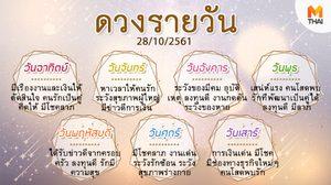 ดูดวงรายวัน ประจำวันอาทิตย์ที่ 28 ตุลาคม 2561 โดย อ.คฑา ชินบัญชร