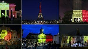 แลนด์มาร์กทั่วโลกฉายไฟสี 'ธงชาติเบลเยียม' เคียงข้างหลังเหตุบึ้มบรัสเซลส์