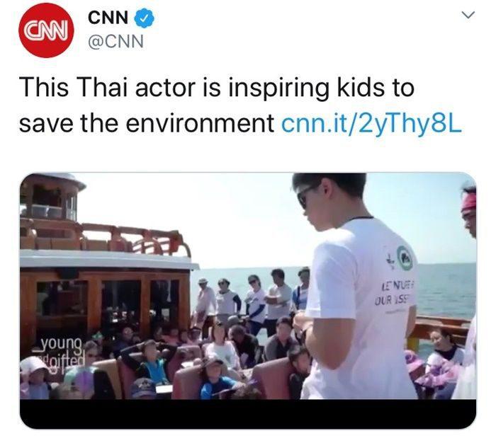 สำนักข่าว CNN พูดถึงอเล็กซ์ ยกย่องเป็นไอดอลของเด็กๆ ในการรักษาวิ่งแวดล้อม