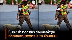 น่ารัก! ภาพนายตำรวจจราจร พาน้องหมา 3 ขา เดินข้ามถนน
