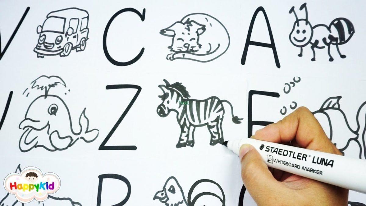 วาดการ์ตูน ABC | เพลง ABC | หัดอ่าน A-Z | Learn Alphabet With Cartoon Drawing
