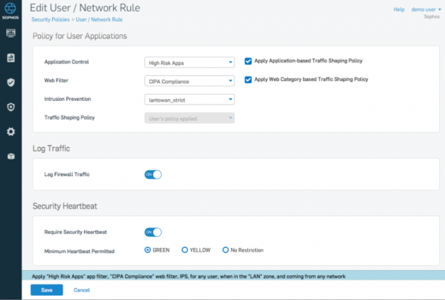 B - Sophos XG Firewall -Policy setting for Security Heartbeat