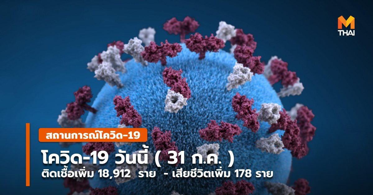 โควิดวันนี้ ( 31 ก.ค. ) พบติดเชื้อเพิ่ม 18,912 ราย เสียชีวิตเพิ่ม 178 ราย