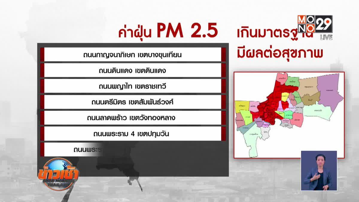 ฝุ่น PM 2.5 เกินค่ามาตรฐานยังปกคลุม กทม.