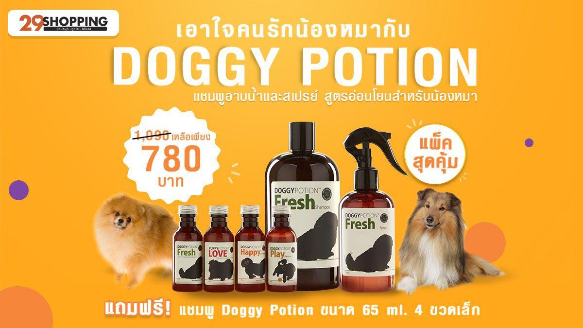 เซทแชมพูอาบน้ำสุนัข + สเปรย์กำจัดกลิ่นและบำรุงขนสุนัข Doggy Potion กลิ่น Fresh แถมฟรี! แชมพูขวดเล็ก 4 กลิ่น