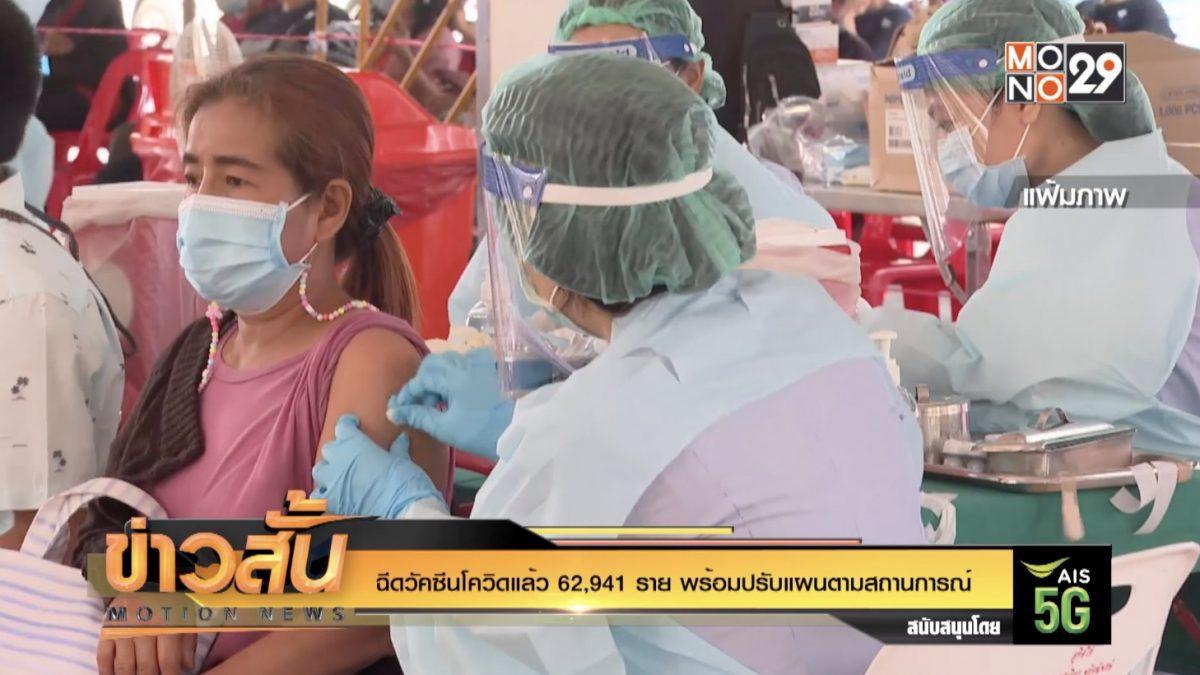 ฉีดวัคซีนโควิดแล้ว 62,941 ราย พร้อมปรับแผนตามสถานการณ์