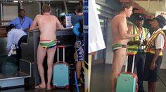นักกีฬา ว่ายน้ำนายหนึ่งดันลืมเอาชุดมาเปลี่ยน ก็เลยต้องบินกลับประเทศด้วยกางเกงวายน้ำตัวเดียว