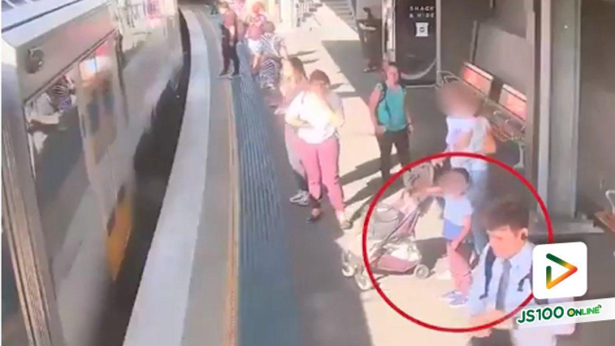 คลิปอุทาหรณ์เด็กน้อยก้าวขึ้นรถไฟเอง พลัดตกช่องว่างชานชาลา เหตุเกิดที่ต่างประเทศ (04-07-62)