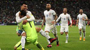 ผลบอล : บราโว่ เหมาสามเซฟ!! ชิลี ดวลเป้าเชือด โปรตุเกส 3-0 ลิ่วรอบชิง คอนเฟดฯ (คลิป)