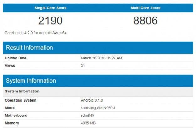 Samsung Galaxy Note 9 สมาร์ทโฟนตัวท็อปอีกหนึ่งซีรีย์จากซัมซุง เผยข้อมูลผลการทดสอบบน Geekbench