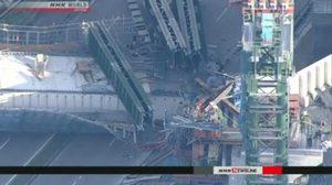 สะพานถล่มในเมืองโกเบของญี่ปุ่น บาดเจ็บนับสิบ