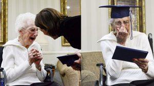 คุณยายวัย 97 ปี น้ำตาไหลพรากหลังจากได้ใบประกาศเรียนจบไฮสคูล