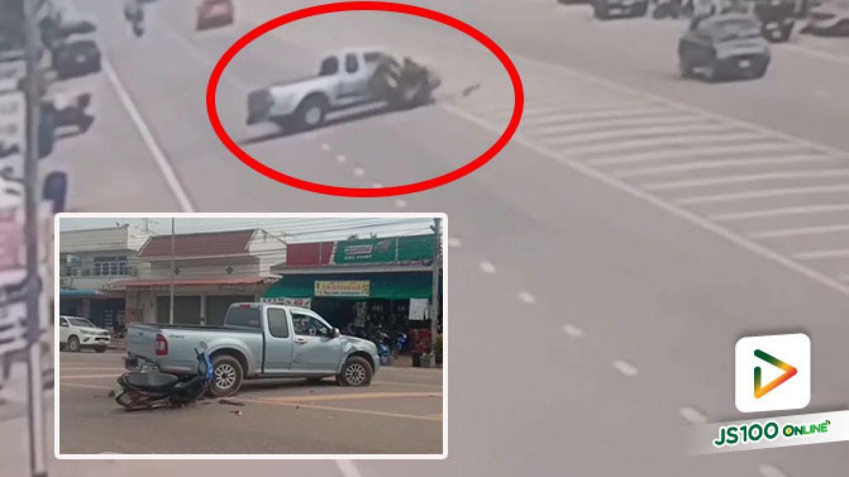 เด็กชายวัย 13 ปี ขี่รถจยย. ถูกปิคอัพกลับรถตัดหน้า พุ่งชนอย่างรุนแรง เสียชีวิต (20/07/2020)