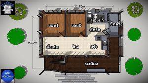 แบบบ้านไม้ ยกใต้ถุนสูง 3 เมตรมีพื้นที่ใช้สอย 104 ตร.ม.