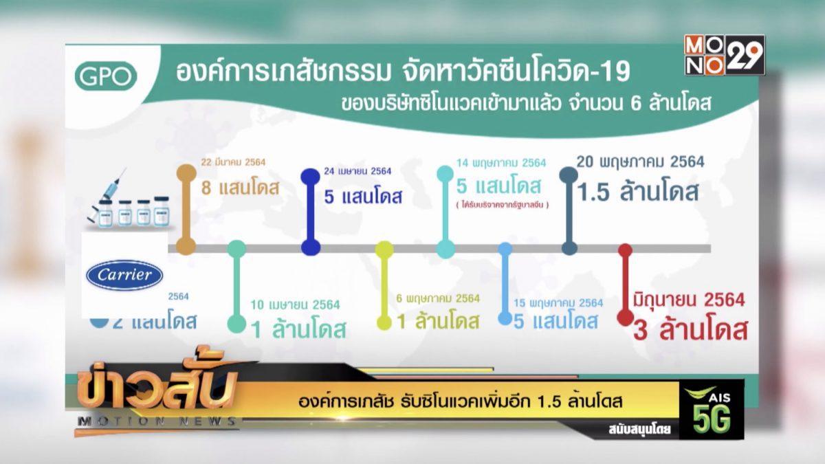 องค์การเภสัช รับซิโนแวคเพิ่มอีก 1.5 ล้านโดส